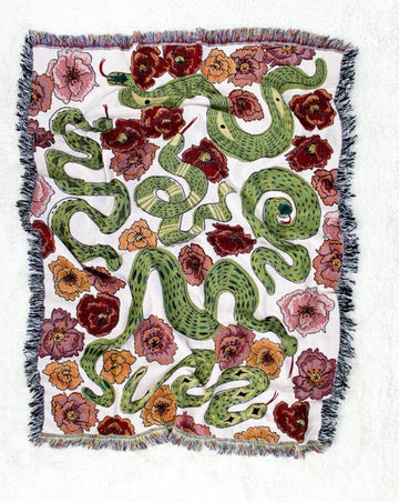 Snakes in the Poppy Field Throw Blanket