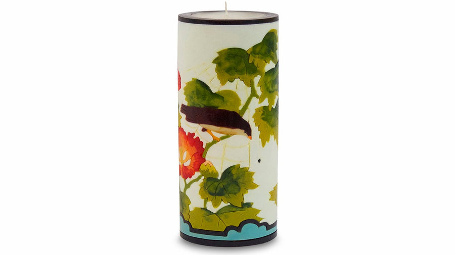 Hibiscus & Bird Illuminated Candle