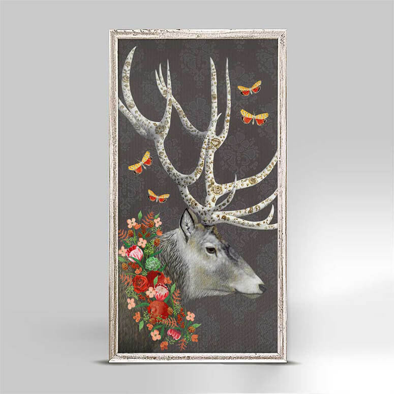 Deer with Autumn Wreath Mini Canvas