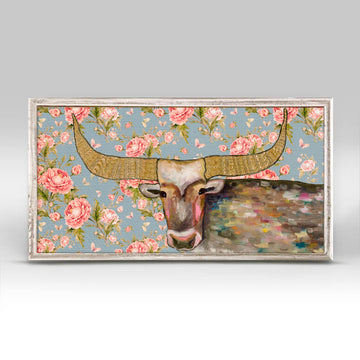 Golden Bull Floral Mini Canvas