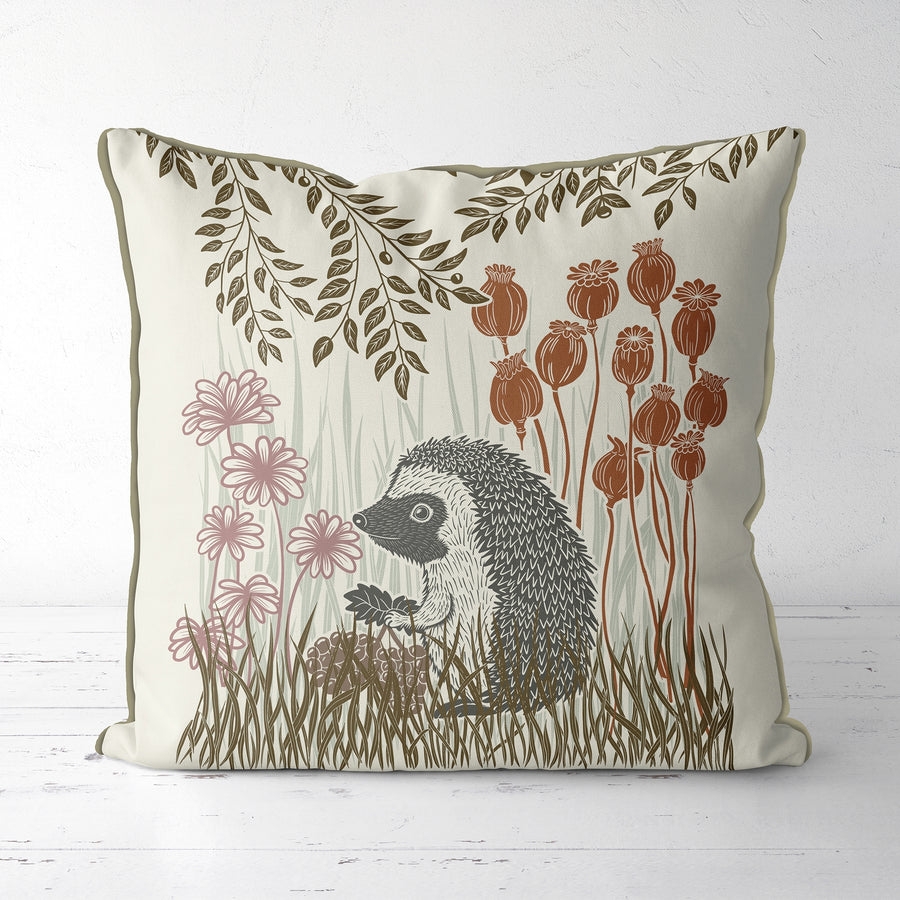Hedgehog & Leaf Pillow