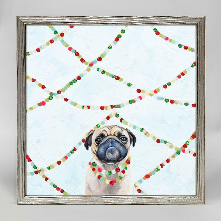 Festive Party Pug Mini Canvas