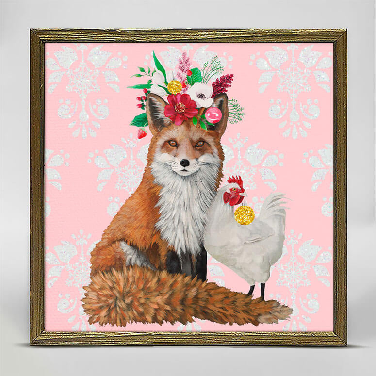 Fox & Rooster Mini Canvas