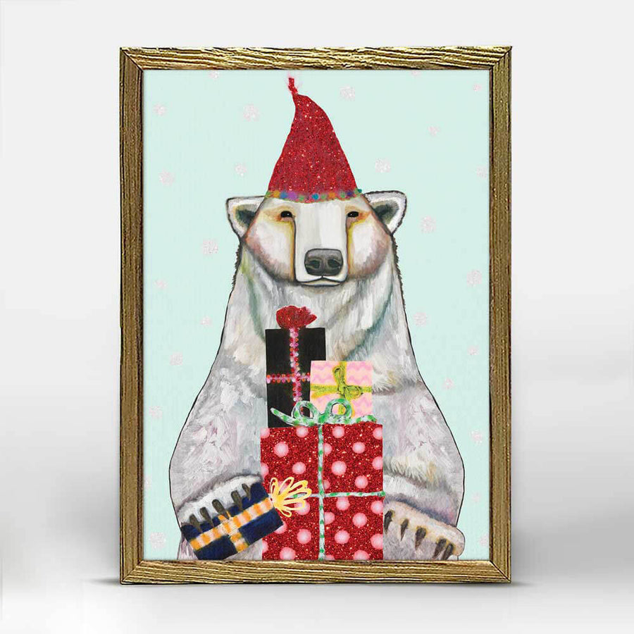 Festive Polar Bear Mini Canvas