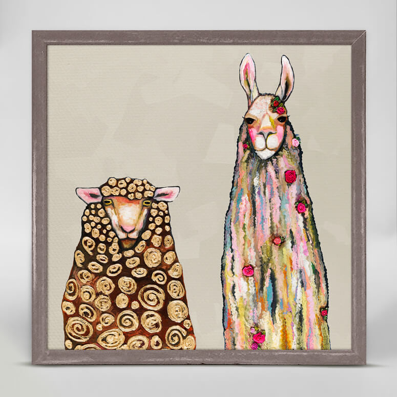Llama Loves Sheep Mini Canvas
