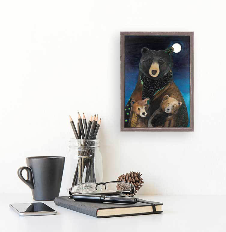Mama Bear at Night Mini Canvas