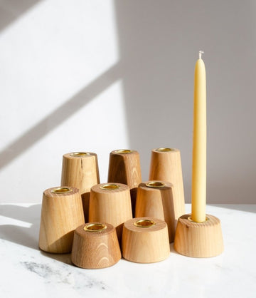 Turned Candle Holder - White Oak