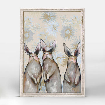 Three Standing Rabbits Mini Canvas