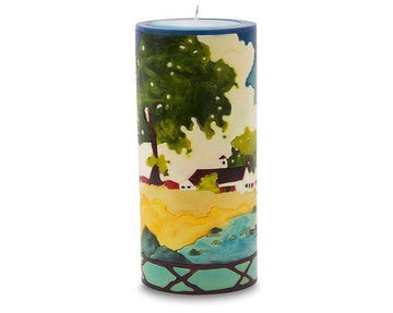 Rural Landscape Illuminated Candle