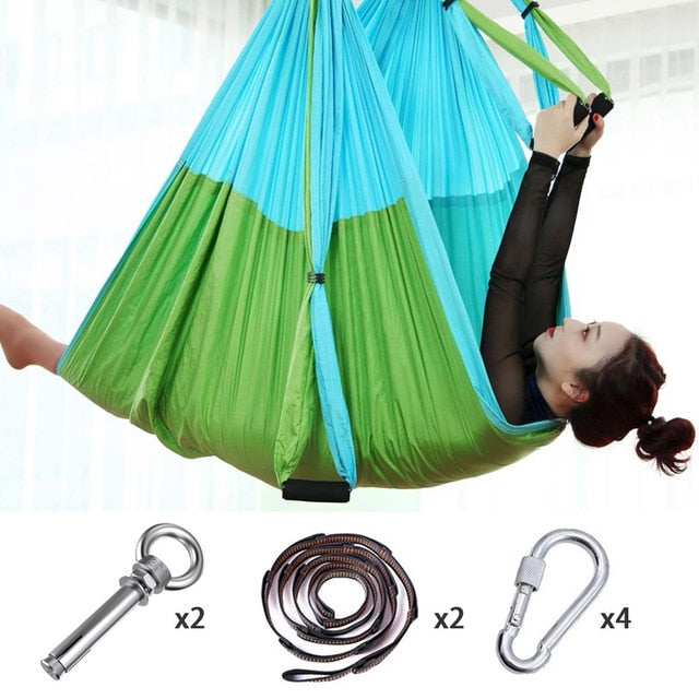 Aerial Yoga Swing Set - Yoga Hammock/Sling Kit + Extension Straps - god-fit.com