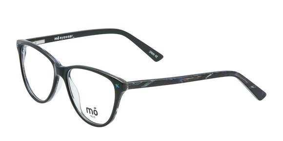 Mo Eyewear Black And Blue Plastic Prescription Eyeglass