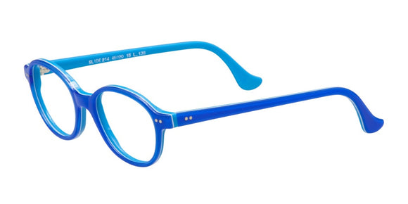 Slide 214 Blue Round Prescription Eyeglasses