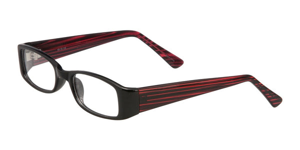 PRIVATE LABEL  Black and Red Plastic Rectangular Eyeglass Frame Idan