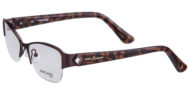 Guess by Marciano GM 210 Brown Semi-Rimless Metal Eyeglasses