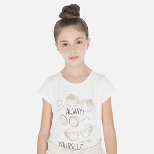 Mayoral Short Sleeve T-Shirt with Glasses Print