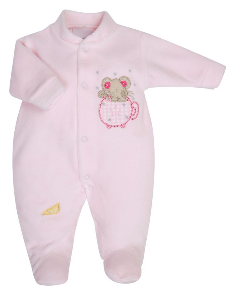 Dandelion 'Mouse in Teacup' Velour Sleepsuit