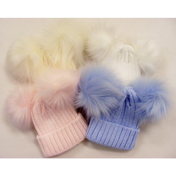 Ribbed Hat with Two Faux Fur Pom Poms White