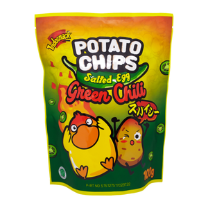 INDOSNACK SALTED EGG GREEN CHILI POTATO CHIPS 100 GR