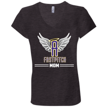 Load image into Gallery viewer, Angels Fastpitch Mom Ladies' Jersey V-Neck T-Shirt