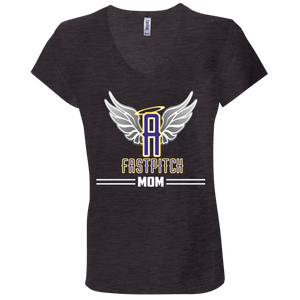 Angels Fastpitch Mom Ladies' Jersey V-Neck T-Shirt