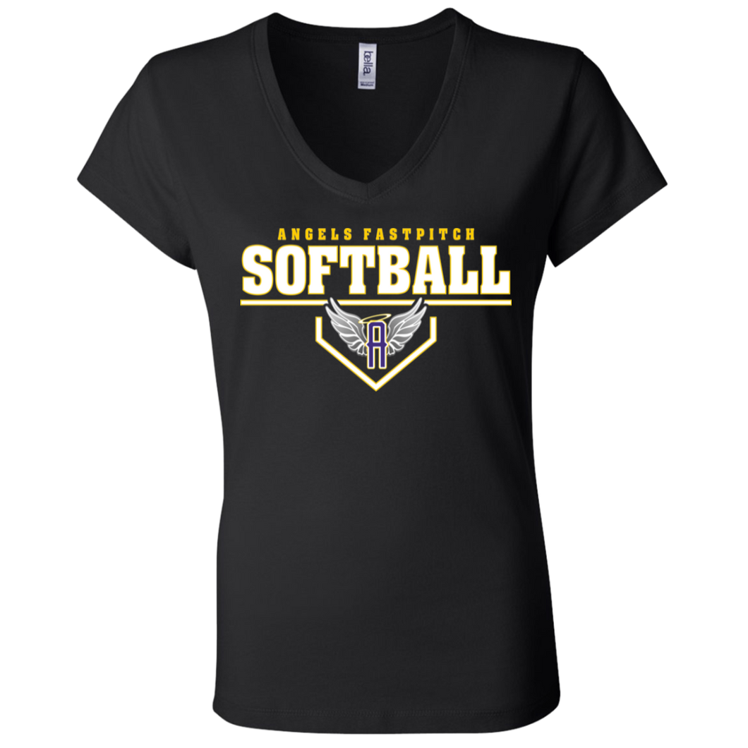 Angels Fastpitch Plate Ladies' Jersey V-Neck T-Shirt