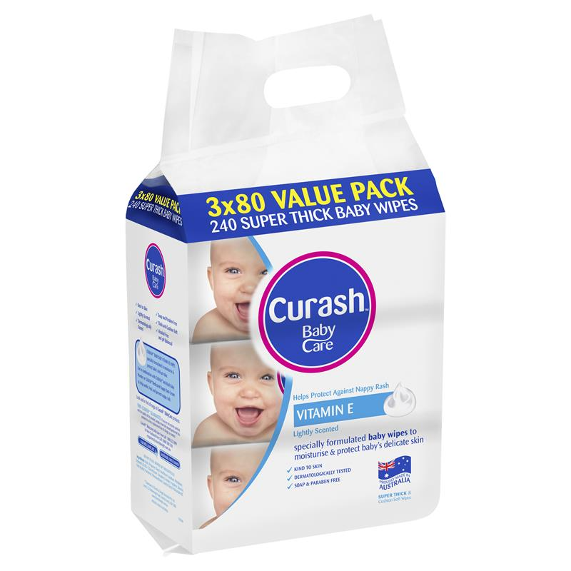Curash Baby Care Wipes VALUE PACK  3 x 80 Pack