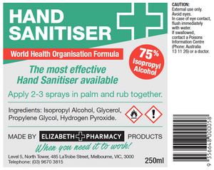 Bench Top Hand Sanitiser (250ml)