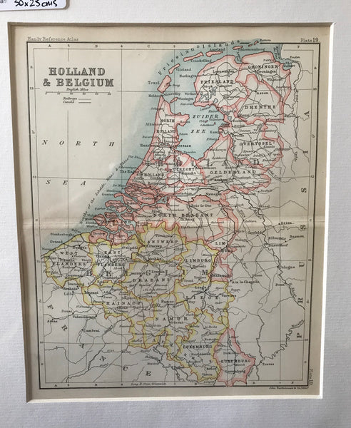 1890 Map of Holland and Belgium