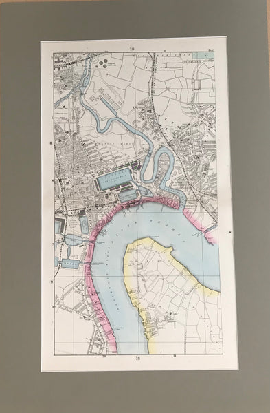 Mounted 1880 Large Street Plan of East India Dock and Greenwich Marshes by Bacon