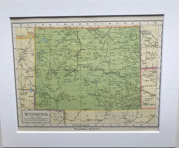 1936 Mounted Map of Wyoming.