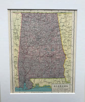 1936 Mounted Map of Alabama.
