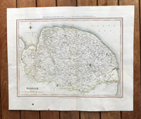 1845 Original Hand Coloured map of Norfolk by Creighton.