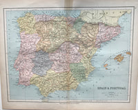 1880 Map of Spain and Portugal by Collins.
