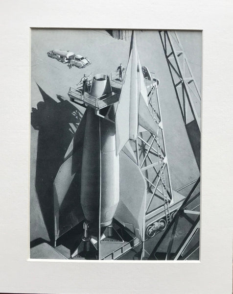 Mounted 1954 Mounting Winged Rocket in Booster Print by RA Smith