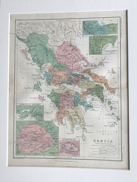 1853 Mounted Map of Greece by Johnston.