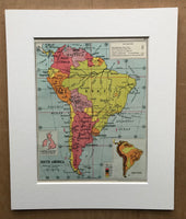 Mounted 1960 Political Map of South America.
