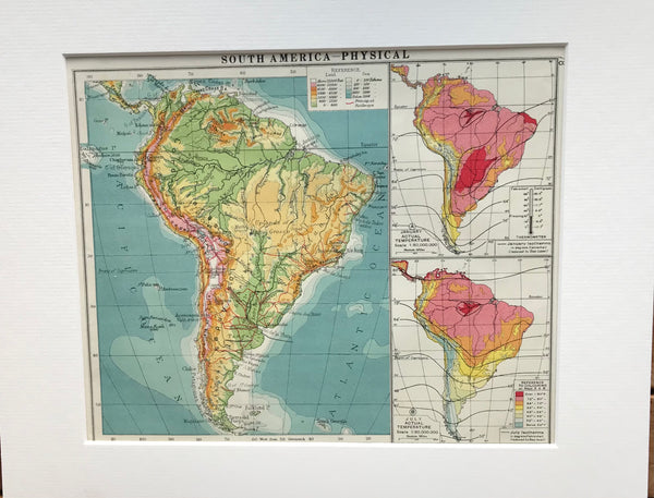 1930 Mounted Physical Map of South America