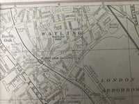 Small Mounted 1937 Map of Burnt Oak and Colindale.