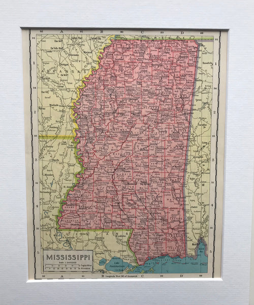 1936 Mounted Map of Mississippi.