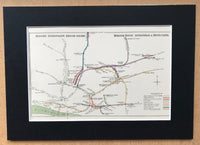 Mounted 1922 London Underground Map of East London