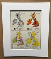 Mounted 1960 Map of Britain and Ireland.