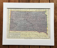 1936 Mounted Map of South Dakota.