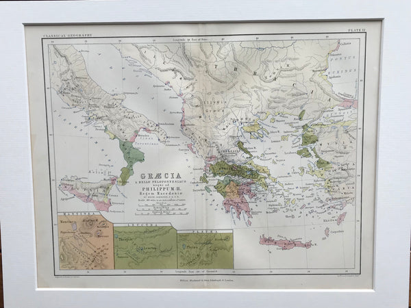 1853 Mounted Map of Greece and Mediterranean by Johnston.