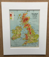 Mounted 1960 Map of Great Britain and Ireland.