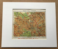 1929 Mounted Street Plan of Kentish Town and Hampstead.