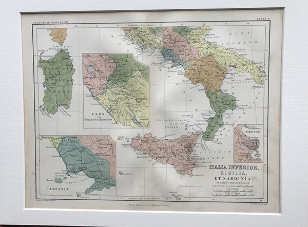 1853 Mounted Map of Southern Italy by Johnston.