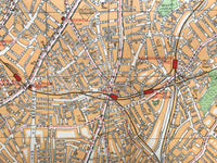 Mounted 1937 Street Plan of Brixton and Clapham.