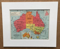Mounted 1960 Political Map of Australia.
