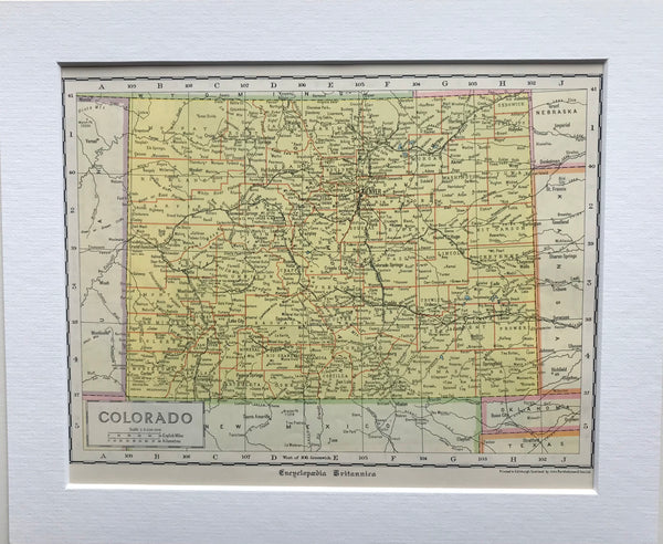 1936 Mounted Map of Colorado.