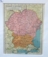1936 Map of Rumania and Bulgaria
